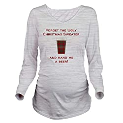 ugly Christmas sweater ideas for pregnancy. Hand Me a Beer Joke Maternity Sweater