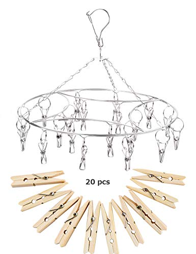 Valenk - Tendedero Colgante de Acero Inoxidable con 20 Clavijas para Ropa Sucia, Calcetines, Ropa Interior, tendederos, con 20 Clips de Wodden