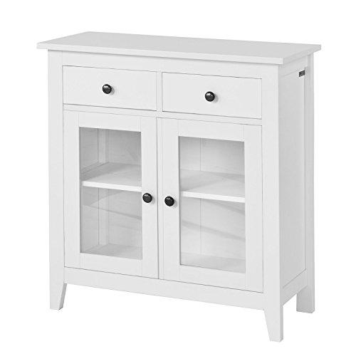 SoBuy estanteria con 2 Puertas, Armario bajo, Consola Mesa Madera Escritorio Blanco, estanteria de Cocina, FSB05-W, ES (Blanco)