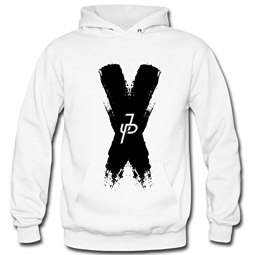 Aliensee Men's Jake Paul X Black Pullover Hooded Sweatshirt S White