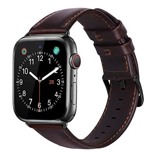 iBazal Leren Armband Vervanging Voor iWatch Series 5 Series 4 Series 3 Series 2 Series 1 Armband 44mm 42mm Leren Horlogeband Bands Armbanden Horlogeband Echt Lederen Band Horlogeband Herenhorloge Bracelets 38mm/40mm - Koffie - M