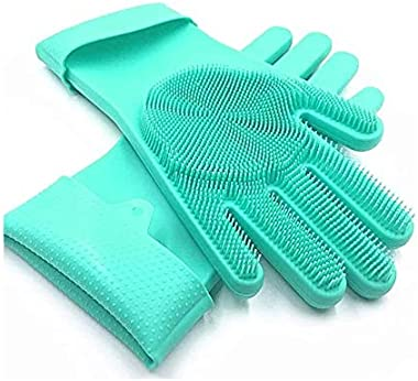F A B L A S Silicone Multiple Latex-Free Scrub Cleaning Gloves with Scrubber, Reusable Scrub Gloves for Wash Dish,Kitchen, Ba