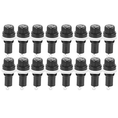 20 STÜCKE Schwarz Schalttafelmontage Schraubverschluss Sicherungshalter Sockelgehäuse für Glasrohrsicherungen 5x20mm