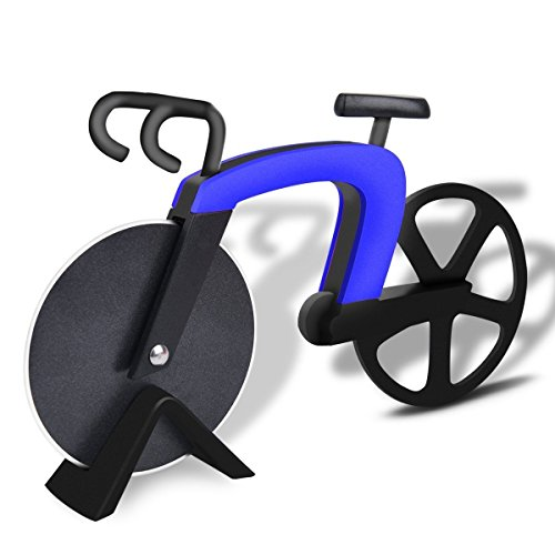 Bangy Bicycle Pizza Cutter Wheel Kitchen & Dinning Non-stick Stainless Steel Pizza Slicer (Blue)
