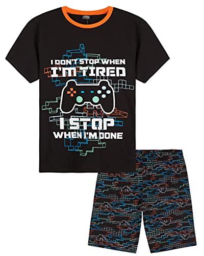 CityComfort Schlafanzug Jungen Kurz, Schlafanzug Kinder Jungen und Teenager, Jungen Pyjama, Nerd Geschenke, Coole Sachen für Jungs, 110-164 (Mehrfarbig, 11-12 Jahre, 11_Years)