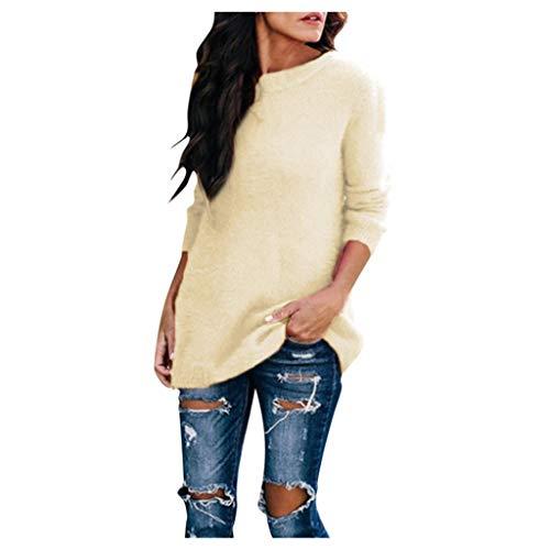 Zottom Mode Herbst und Winter Pullover Frauen Rundhals weichen Plüsch Langarm-Pullover(b-Beige,Medium)
