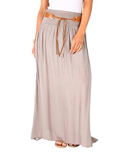 KRISP 4809-TAU-LXL, Falda Larga Bohemia Elegante Plisada Hippie Cintura Elástica, Topo (4809), L/XL
