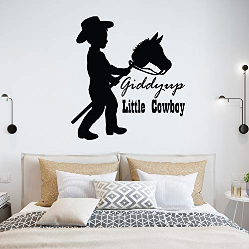 Giddy Up Little Cowboy Quote Quotes Decals for Boys Bedroom / Cowboys Hat Boots Boys Boy Childrens Toddlers Bedrooms art vinyl stickers decor / Country Look Horses Horse Animal Love Size 20x20 inch