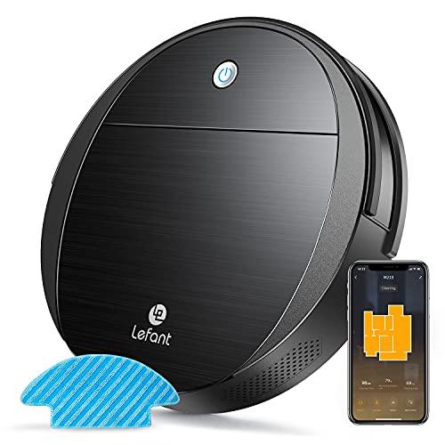 Lefant Robot Aspirador,Robot Aspirador y Fregasuelos 1800Pa,Aspira, Barre,Mopa,Detecta obstáculos,Cepillo Mascotas,100 min Autonomía,Compatible con Alexa y Google Home(M213)