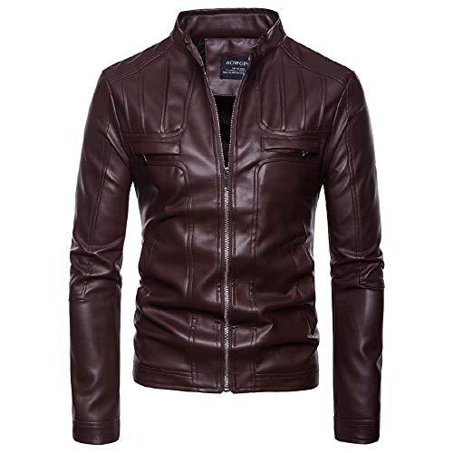 YEE Chaqueta de Cuero para Hombre Nueva Motocicleta Soporte de Collar Chaqueta de Cuero Guapo Grande Tamaño,Brown-Large