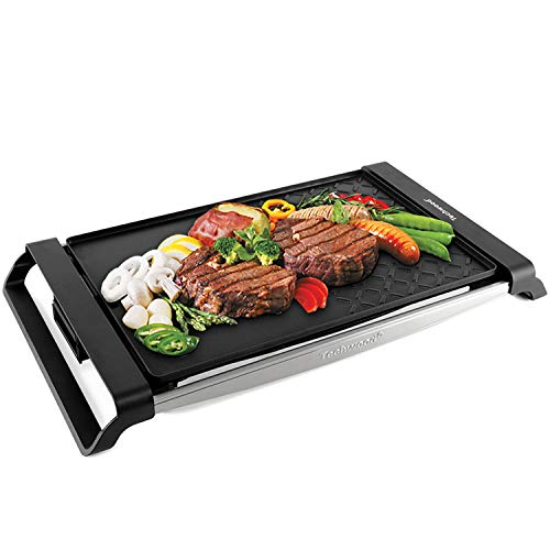 Techwood Electric Grill Portable Raclette Grill Tabletop Grill Indoor/Outdoor Use, Non-stick...