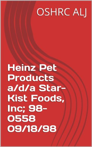 Heinz Pet Products a/d/a Star-Kist Foods, Inc; 98-0558  09/18/98 (English Edition)