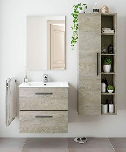 Miroytengo Pack Muebles para baño Color Roble Alaska Industrial (Mueble+Espejo+Lavabo+Columna) Lavabo Incluido