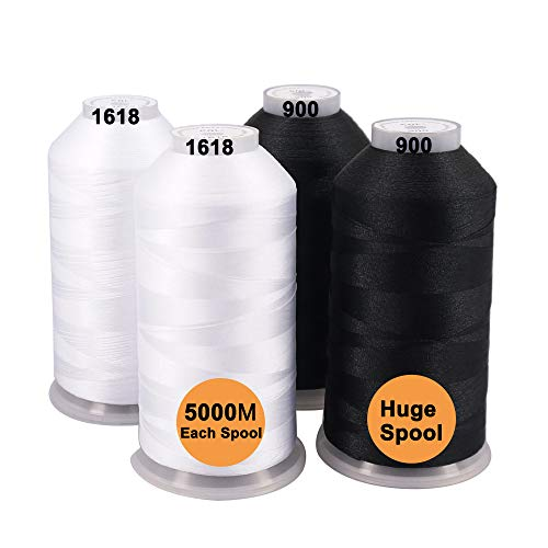 New brothreads -32 Options- Various Assorted Color Packs of Polyester Embroidery Machine Thread Huge Spool 5000M for All Embroidery Machines - 2Black+2White