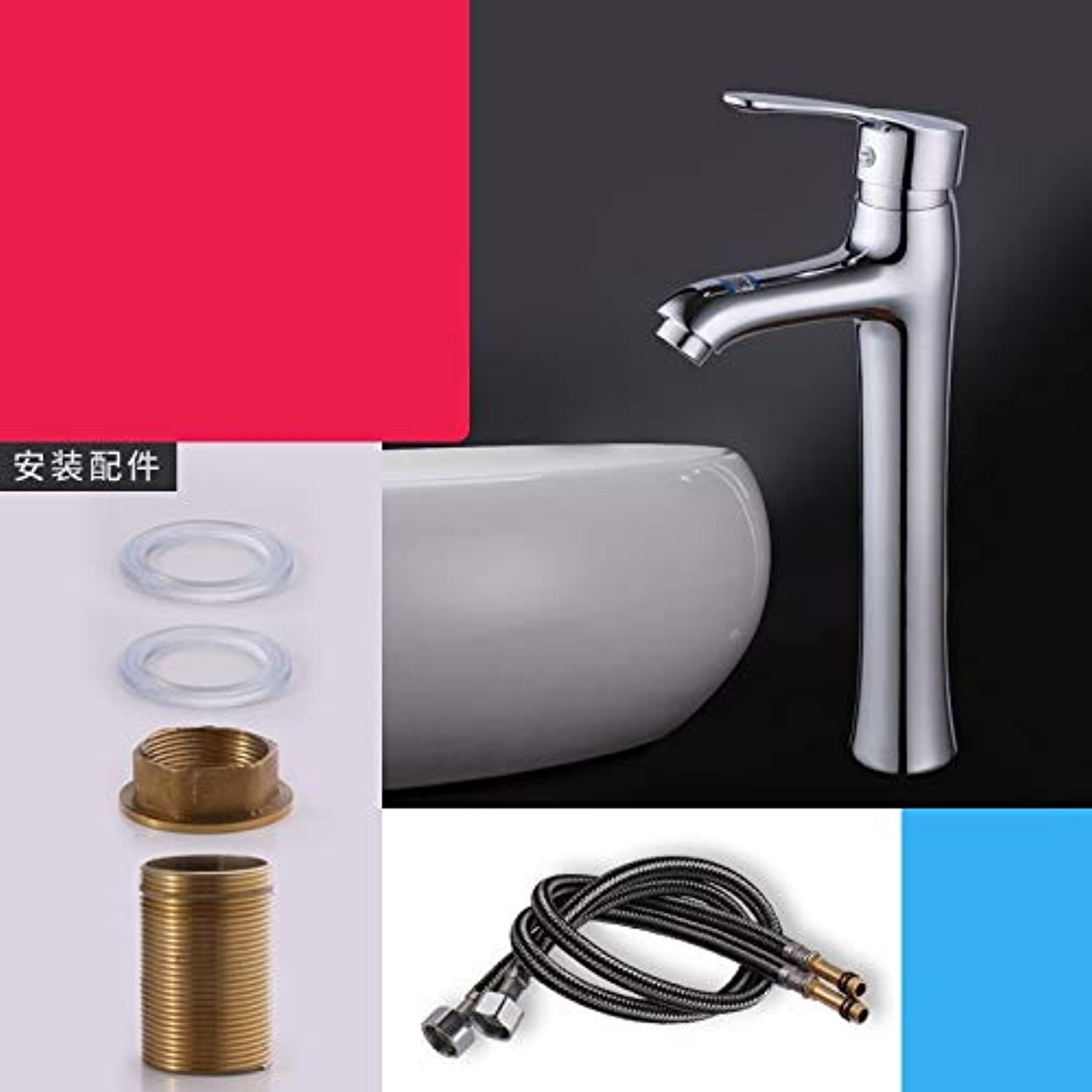 JWLT faucets Copper Bathtub, hot and Cold Water Faucet, Single Hole Lavatory, Bathroom Cabinet, wash Basin, Basin top pots,The Cold Water hot tap 60CM on The Stage has 2 Water Inlet Pipes.