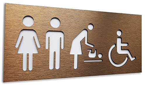 BSYDESIGN - Placa de Pared para baño (Aluminio, Bronce, Unisex, 12 x 27 cm), diseño de Letrero de baño