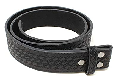 "Leather Belt Strap with Embossed Basket Weave Pattern 1.5"" Wide with Snaps (Black-L)"