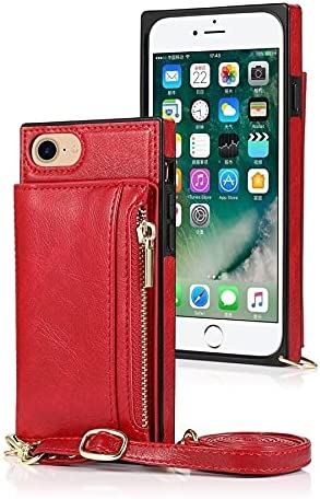 SLDiann Case for iPhone SE 2nd Generation 2020, Zipper Wallet Case with Credit Card Holder/Crossbody Long Lanyard, Shockproof Leather TPU Case Cover for iPhone SE2 and iPhone 7/8 (Color : Red)