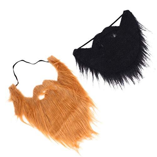 HEALLILY 2 Unids Barbas Falsas Halloween Divertido Bigote Falso Disfraz de Pelo Facial Disfraz para Halloween Suministros para Fiestas de Navidad