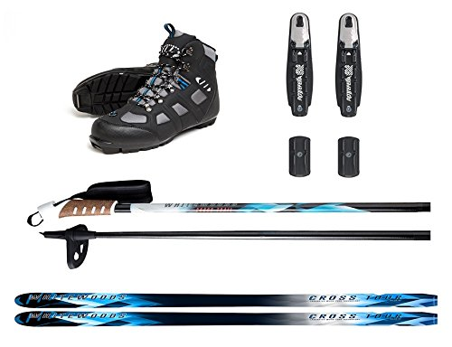 Whitewoods New Adult NNN Nordic Cross Country Ski Package Skis Binding Boots Poles 207cm, 180lbs.+ (46)