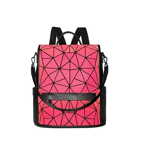 Mochila reflectante holográfica luminosa para mujer, estilo casual, elegante, cambiante, de color, bolsa de escuela, mochila, rojo (rosa (Luminous Red)), Medium
