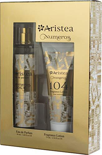 Aristea - Damen Parfüm Set Numeros 104 mit blumigem Duft, Geschenkset für Frauen, Geschenkbox mit Eua de Parfum (50ml) und Fragrance Lotion (75ml)