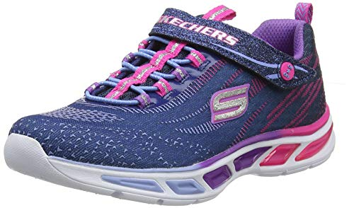 Skechers Girls' Litebeams Low-Top Sneakers, Blue (Nvmt), 1.5 UK 34 EU