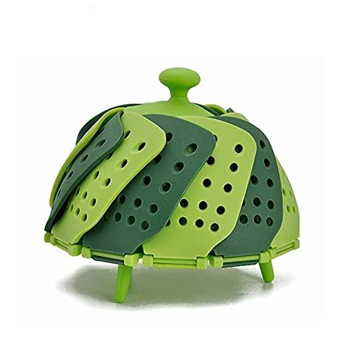 PPuujia Cookware - Cesta de silicona para cocinar al vapor de alimentos, plegable, para alimentos, frutas, verduras, vapor, cocina, vaporizador (color: GE)
