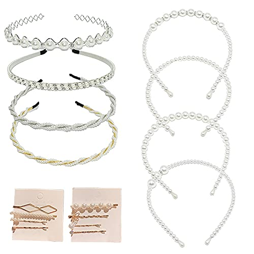 Kaimeilai Diadema con Perlas, 16 Piezas Elegante Diadema con Perlas Horquilla a la Moda, con Perlas, Diadema con Diamantes de Imitación para Bodas Fiestas de Cumpleaños Regalo del Día de San Valentín