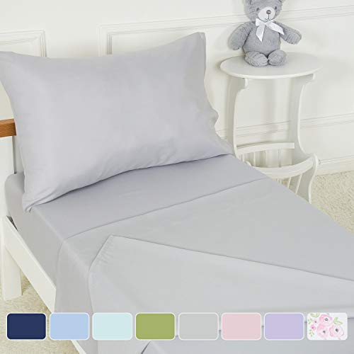 TILLYOU 3-Piece Microfiber Toddler Sheet Set (Light Gray, Fitted Sheet, Top Flat Sheet and Envelope Pillowcase) - Crib Sheets Set Toddler Bed Set - Baby Bedding Sheet & Pillowcase Sets