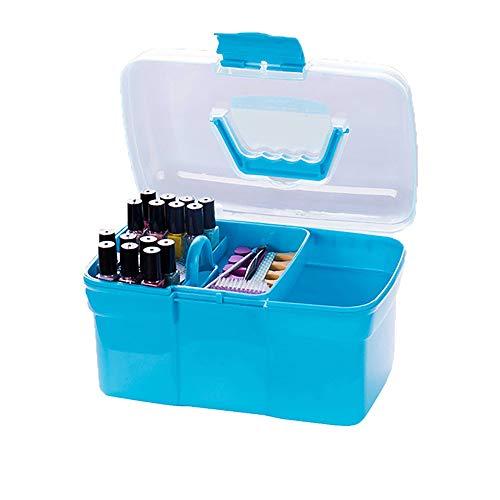 beartybohochic® en Plastique Portable Nail Art Craft 2 Couche De Stockage Boîte Boîte Maquillage Organisateur Cas