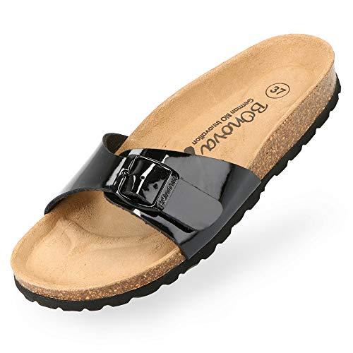 BOnova Damen Pantoletten Teneriffa in 10 Farben, modischer Einriemer mit Korkfußbett - komfortable Sandalen zum Wohlfühlen - hergestellt in der EU schwarz Lack 37