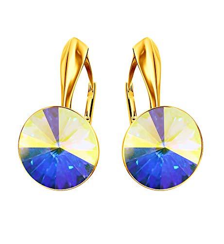 *Beforya Paris * Rivoli – 'Rainbow Glow' – Great Earrings – 44 Colours – Silver 925 Gold-Plated 24 K – Beautiful Women's Earrings with Swarovski Elements Crystals – Wonderful Crystal AB