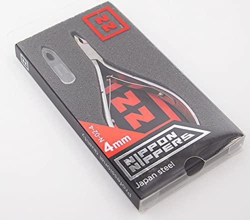 Nippon Nippers, Alicates Profesionales para Cutícula, 4 mm con talón, Acero Aleación Japonesa, Afilado Manual, Manicura Pedicura uñas, 107 mm, doble muelle, N-02-4