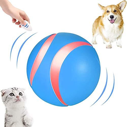 JUNQI Juguetes interactivos para perros y gatos, juguete para perros móviles con mando a distancia, recargable por USB, juguete para perros grandes y pequeños, cachorros y gatos (azul)