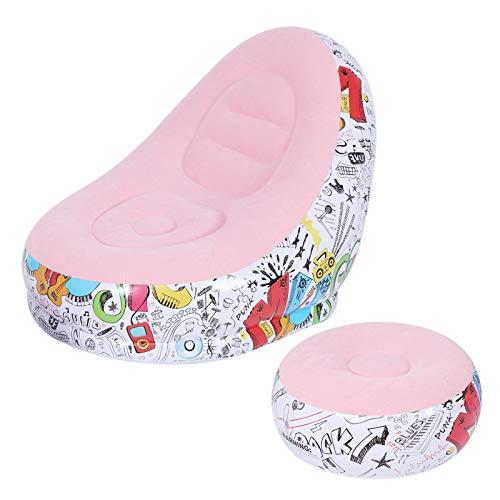 Aufblasbarer Loungesessel, verschleißfestes aufblasbares Sofa, rutschfest, tragbar für ein Nickerchen in der Freizeit(Macaron pink, 116 * 98 * 83cm)