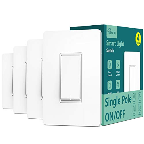 Single Pole Treatlife Smart Light Switch (Neutral Wire Required), 2.4Ghz Wi-Fi Light Switch, Works with Alexa and Google Assistant, Schedule, Remote Control, Single Pole, ETL Listed(4 Pack)