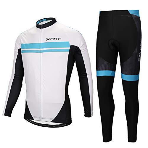 Set di abbigliamento da ciclismo da uomo M-3XL a maniche lunghe bici da corsa N//V D.Stil in pile con imbottitura 3D pantaloni per mountain bike
