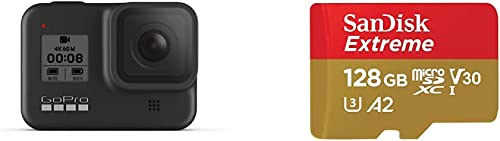 GoPro HERO8 Caméra Numérique Embarquée Étanche avec Écran Tactile & SanDisk Extreme Carte Mémoire MicroSDXC 128 Go + ...