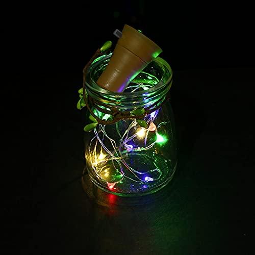 10 botellas de vino solares de 2 m y 20 LED, guirnalda de luces de Navidad, decoración de corcho, resistente al agua, color plateado, cadena de iluminación (emisión de color: RGB) SKYJIE (tamaño: RGB)