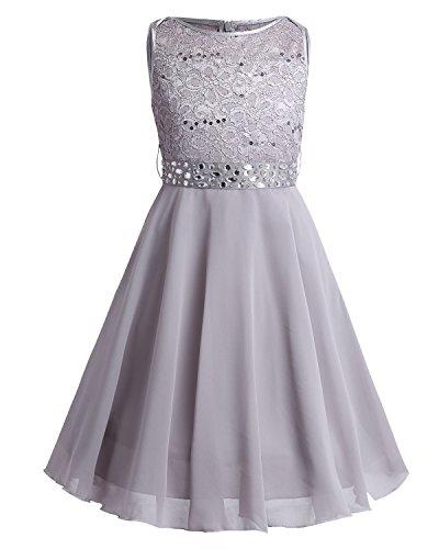 TiaoBug Festlich Mädchen Kleid für Kinder Prinzessin Spitzen Kleider Hochzeit Blumenmädchenkleid 92 104 116 128 140 152 164 Grau 152