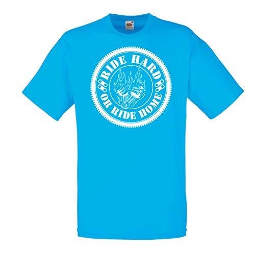 N4688 Männer T-Shirt Ride Hard! Biker Clothing (Medium Blau Mehrfarben)