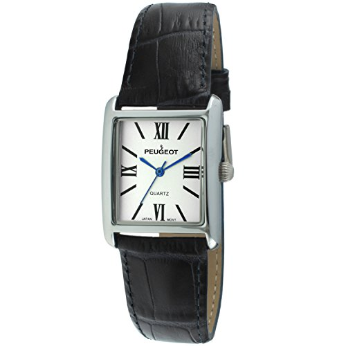Peugeot Women's Silver-Tone Tank Shape Leather Dress Watch