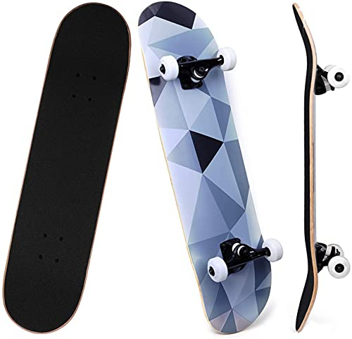 SKILEC Skateboard Completo, Monopatín para Adolescentes Niñas Niños Adultos Principiantes Tabla de Skateboard Madera de Arce con rodamientos ABEC-7 para Niños Niñas Adolescentes Adultos (Diamante)