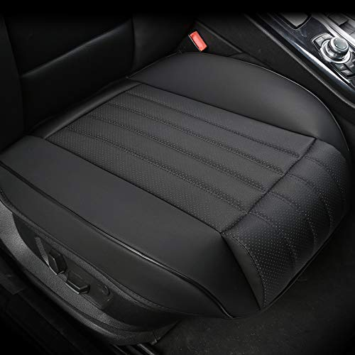EDEALYN (1 PCS) Car Seat Cover Width20.86 by deep 20.86 inches PU Leather Auto Bottom Seat Protector Cover with Comfort Leg Support Pillow Fit Most Front Driver Seat (Black with Leg Rest)
