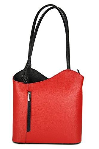 Belli ital. Ledertasche Backpack 2in1 Damen Rucksack Leder Handtasche Schultertasche - Freie Farbwahl - 28x28x8 cm (B x H x T) (Rot schwarz)