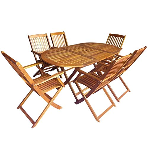 Festnight Wooden Garden Furniture Set Wooden Garden Dining Table and Chairs Foldable Dining Furniture Set- 6x Armchairs & 1x Oval Table for Garden Patio Outdoor Use, Solid Acacia Wood