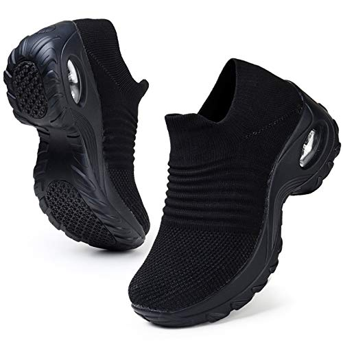 HKR Womens Walking Tennis Shoes Slip On Light Weight Mesh Platform Nursing Shoes Air Cushion Sneakers All Black 9.5(ZJW1839quanhei42)