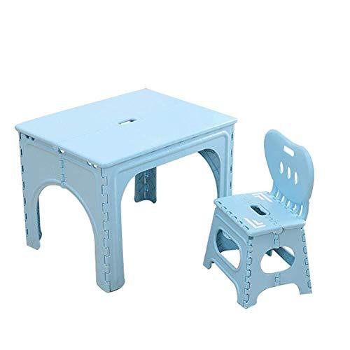 Children's studie bureau Children's Kids Camping klaptafel, Portable Outdoor Garden Plastic activiteitentafel for 2 en 7 jaar oud met lekkere stoel Roze Blauw Groen Children's studie tafel en stoel se