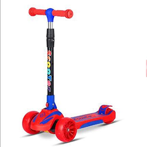 Doblar Vespa, Altura Ajustable Extra Ancho PU Intermitente Ruedas Scooter, para niños de 2 a 8 años de Edad los niños, Las Muchachas de los Mejores Regalos,Rojo